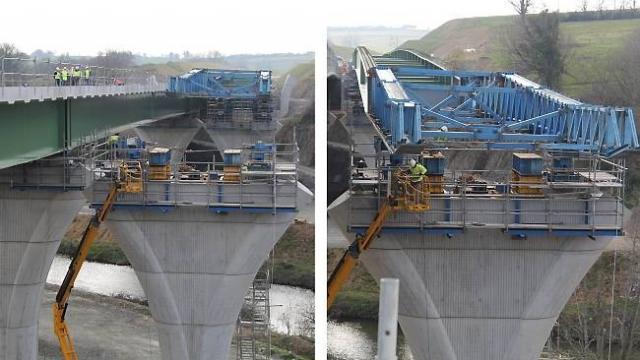 Viaduc de Bournezeau (85) sur le petit-lay (tablier type Mixte acier-béton 3 travées 48m-94m-48m env. à 20m du sol) - Crédit Photo Ouest France